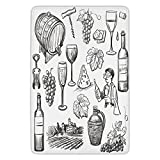 Bathroom Bath Rug Kitchen Floor Mat Carpet,Wine,Hand Drawn Wine Set in Sketch Style Vintage Gourmet Country Themed Artwork Decorative,Charcoal Grey White,Flannel Microfiber Non-slip Soft Absorbent