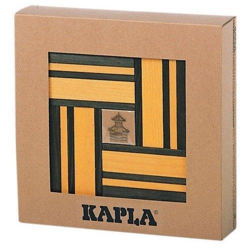 Kapla Green/Yellow Dual Color Wooden Building Set with Art Book -  JAUNE VERT