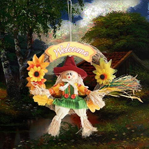 koowaa Corona de espantapájaros, Adorno de otoño, Guirnalda de Paja para Halloween, espantapájaros, decoración para el otoño, Acción de Gracias, 1: Amazon.es: Hogar