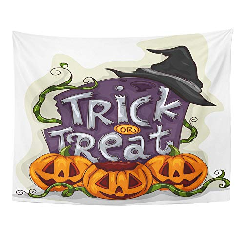 Emvency Tapestry Polyester Fabric Print Home Decor Cartoon Halloween of Tombstone with Trick Treat Written on It Spooky Clipart Wall Hanging Tapestry for Living Room Bedroom Dorm 60x80 Inches