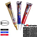 Henna Tattoo Set Painting Template - 3 Color Temporary Henna Tattoo Cream with 96 x Sticky Mold Waterproof Black Red Blue Designs