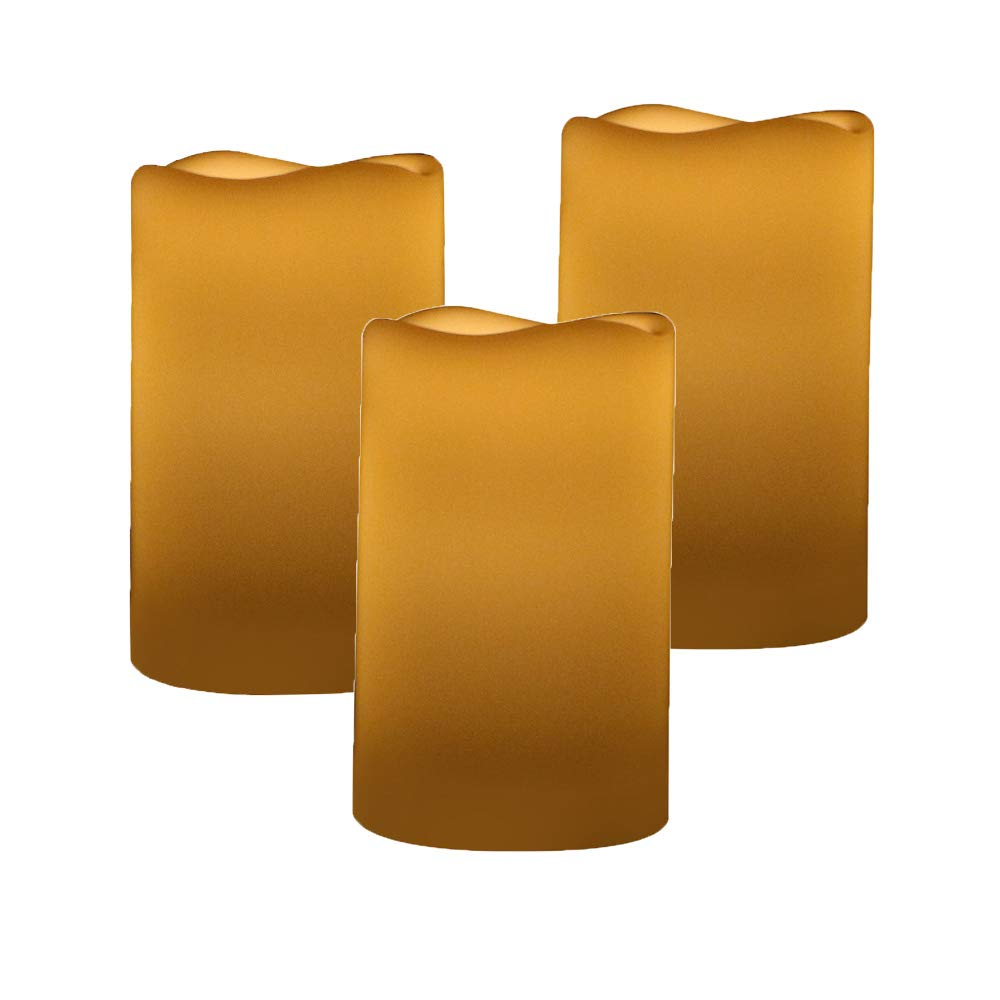 Outdoor & Indoor Flameless Candles Flickering LED 5inch Candles Warm White Real Wax Pillar Battery Operated Electronic Non Wax Candles with Timer Cycling 6 Hours Pack of 3 x 5'' by Olilio