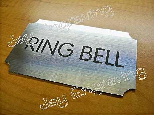(Engraved Ring Bell 3x5 Brushed Silver Door Sign | Name Plate | Wall Plaque Adhesive Backed)