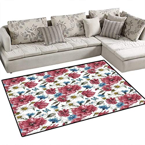 (Watercolor Area Rugs for Bedroom Bridal Inspired Wildflower Bouquet with Poppies Daisies Cornflowers Door Mats for Inside Non Slip Backing 3'x5' Dried Rose Blue Green)