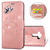 IKASEFU LG G4 Case,Clear Crown Rhinestone Diamond Bling Glitter Wallet with Card Holder Emboss Mandala Floral Pu Leather Magnetic Flip Case Protective Cover for LG G4,Rosa Gold