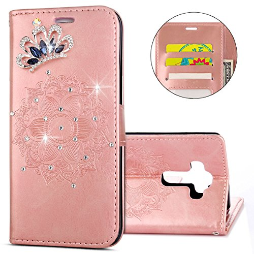 IKASEFU LG G4 Case,Clear Crown Rhinestone Diamond Bling Glitter Wallet with Card Holder Emboss Mandala Floral Pu Leather Magnetic Flip Case Protective Cover for LG G4,Rosa Gold by IKASEFU