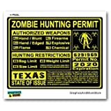Texas TX Zombie Hunting License Permit Yellow - Biohazard Response Team - Window Bumper Locker Sticker