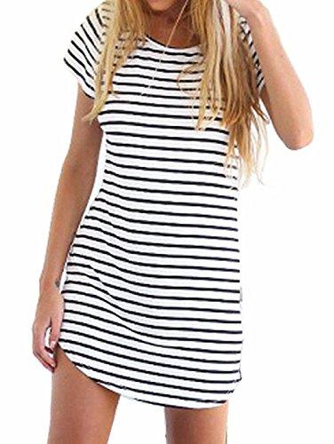 Menglihua Women Short Sleeve Stripe Summer Beach Blouse Mini Sundress White M (Big Poofy Dresses)