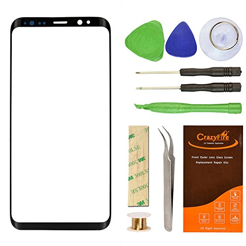 Replacement Front Outer Lens Glass for S8 Edge Plus, CrazyFire 6.2″ Samsung Galaxy S8 Edge+ G955 Front Glass Lens Screen Replacement Kit for for G955U G955U1 G955FD (Black)