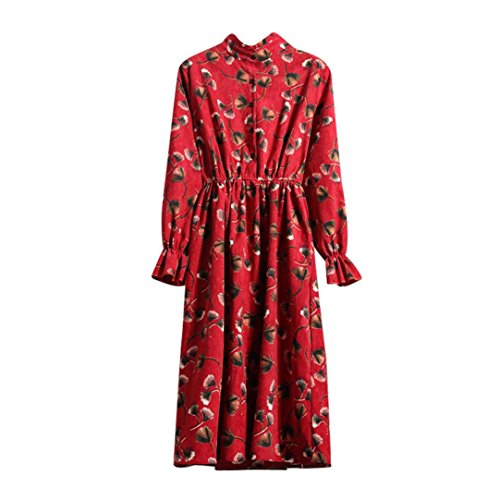 Spbamboo Womens Ladies Floral Long Sleeve Ladies Casual Paty Long Shirt Dress by Spbamboo