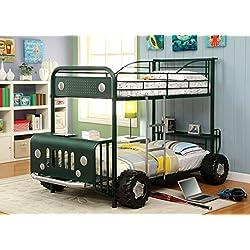 Furniture of America Sarge Twin-Twin Metal Bunk Bed, Green