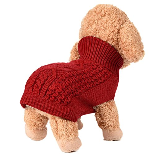 Sunward 2017 Turtleneck Classic Straw-Rope Pet Dog Sweater Apparel (XS, Red) -