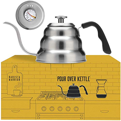 Pour Over Coffee Kettle with Thermometer for Exact Temperature – Gooseneck Pour Over Kettle for Drip Coffee and Tea 1.0 Liter 34 fl oz