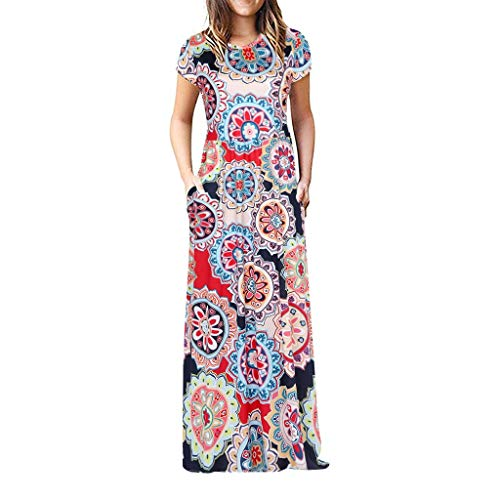 Chaofanjiancai Elegant Women's Maxi Dress Floral Printed Summer Short Sleeves Casual O-Neck Long Maxi Dress (M, MulticolorF)
