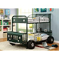 Furniture of America Sarge Twin-Twin Metal Bunk Bed, Green