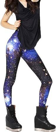 Mujer Galaxy Leggings Skinny elástica Leggins Talla Única Mujer galaxia Space Patterned Universo Mundo All Cielo estrellado Print Style Stretch