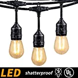Amazon Price History for:48FT Outdoor Cafe String Lights with 15 Shatterproof LED S14 Edison Bulbs-UL Listed Commercial Grade Patio Lights for Backyard Bistro Pergola Deck Gazebo Tent Garden Decoration, Warm White