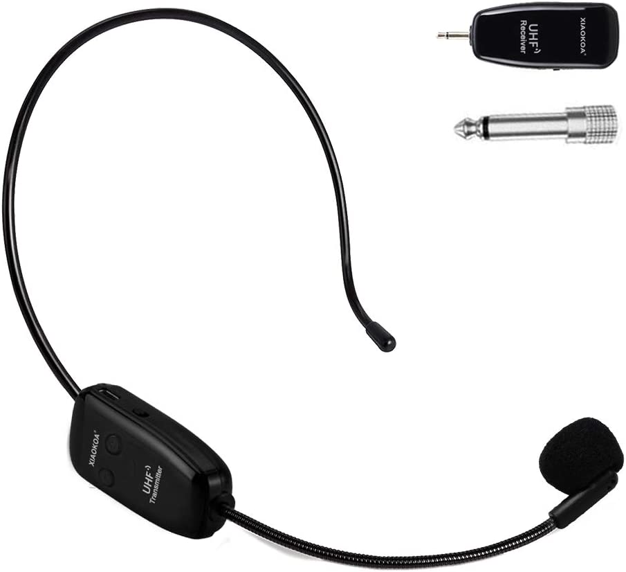 XIAOKOA Wireless Micrófono,UHF Micrófono Inalámbrico,Transmisión Inalámbrica de 50 m,para Guía Turística/Enseñanza/Promoción/Discurso