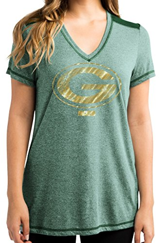 Majestic Green Bay Packers Women's NFL Bright Lights V-neck Fashion ()