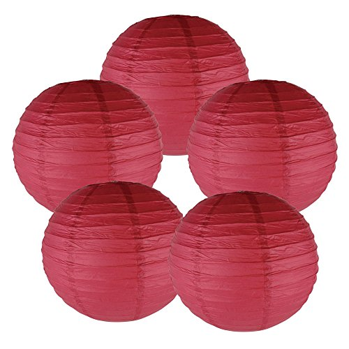 Just-Artifacts-8-Dark-Red-Paper-Lanterns-Set-of-5-Click-for-more-ChineseJapanese-Paper-Lantern-Colors-Sizes