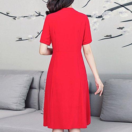 Kleid Übergröße Gestreift Damen Rot Kleider Seide Abendkleid S2929 Midi DISSA Cocktail n0Pqgx760w