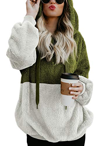 BLENCOT Womens Ladies Color Block Hoodies Long Sleeve Warm Thick Fuzzy Pullover Hooded Sweatshirt Sweater Outwear Coat Tops Green White Medium