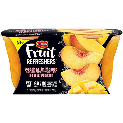 Del Monte 2 Piece Refreshers Snack Cups, Peaches in Mango Fruit Water, 6 Count by Del Monte