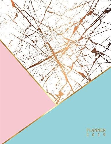 Planner 2019: Marble Texture, Golden Notebook, A Year, 12 Month, 52 Week journal, Monthly Planner, Weekly Planner, Calendar, Schedule, Organizer, Agenda, Personal Management, 8.5 x 11 inch 120 pages