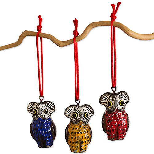 NOVICA Animal Themed Ceramic Hanging Holiday Ornaments, Multicolor, Owls of Tikal' (Set of 6)