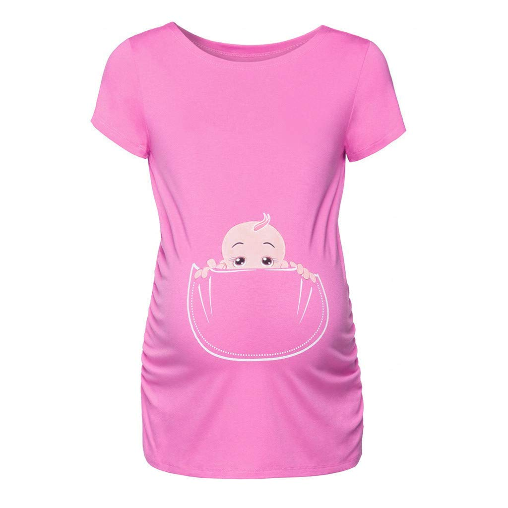 Pregnancy Shirt for Women,Women's Maternity Baby in Pocket Print T-Shirt Top Tee T-Shirt Pregnancy Cl,Maternity Activewear,Red,XXXL