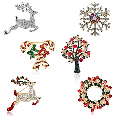 Christmas Brooch Pin Set Women - Pack of 6pcs Cute Crystal Diamond Enamel Christmas Jewelry Gift Including Red Crystal Reindeer White Reindeer Candy Cane Christmas Tree Wreath Snowflake Pins Set