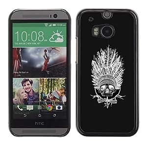 Be Good Phone Accessory // Dura Cáscara cubierta Protectora Caso Carcasa Funda de Protección para HTC One M8 // Indian Native American Headgear Black