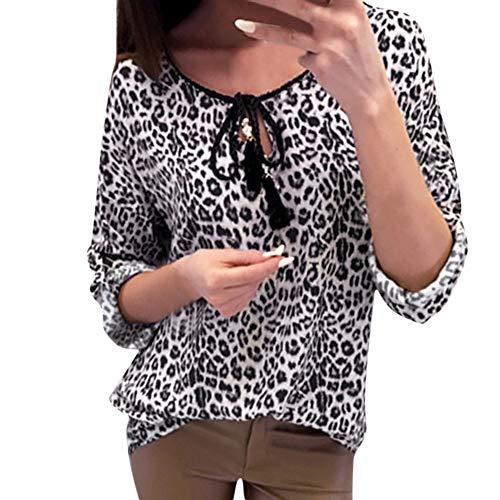 Longues Chemisier Chemise Manche Chemisiers Noir Manches Leopard V Somesun Ladies Chic Print Femmes x0q8OZwwg