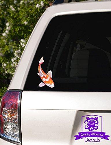 Orange and White Watercolor Koi Fish Vinyl Car Decal - 6