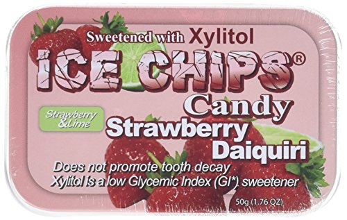 ICE CHIPS Strawberry Daiquiri Xylitol Mints 6 Single Tins by Ice Chip Candy