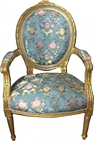 casa padrino luxury baroque medallion salon chair turquoise floral