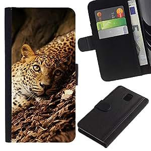 """Samsung Galaxy Note 3 III N9000 N9002 N9005 , la tarjeta de Crédito Slots PU Funda de cuero Monedero caso cubierta de piel ("""" Leopard Rainforest Big Wild Cat Green Eyes"""")"""