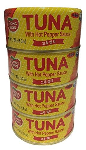 (Dongwon Hot Red Pepper Tuna 5.3oz/150g (Pack of 4) / 고추참치)