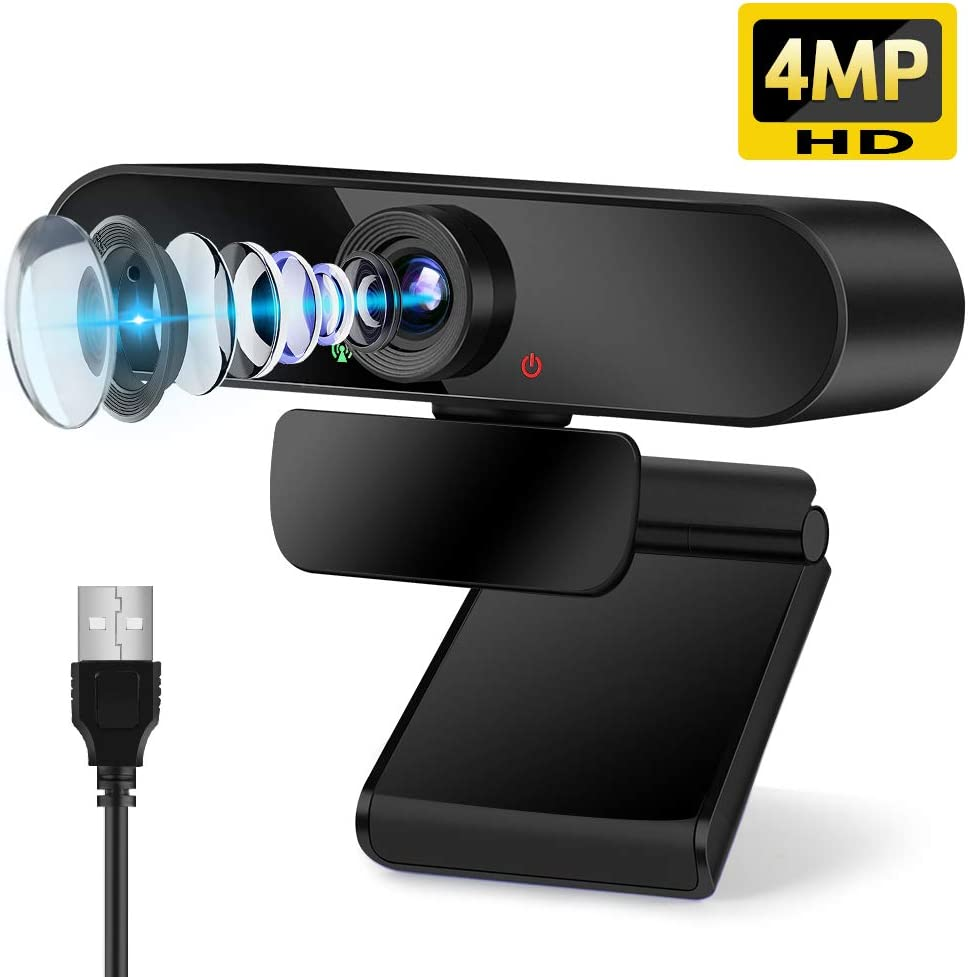4MP Webcam with Microphone, USB Webcam for Desktop Laptop Plug & Play Computer Camera Streaming Webcam with 110° Wide View Angle and Noise Reduction Mic for Video Call and Conference