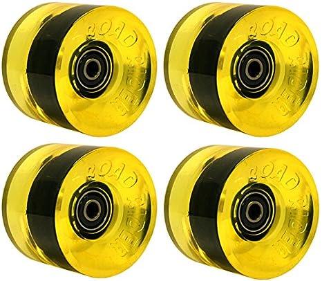 Road Rider Longboard Wheels 68mm 78a Yellow W/BEARINGS PREMIUM USA GRIP FORMULA