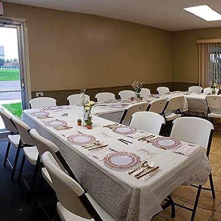 QUANHAO 4 mantel de plástico desechable 137x274cm, mantel de plástico rectangular, mantel desechable, utilizado para buffet, cena de fiesta, picnic de boda, etc. (Puntos plateados 137x274cm)
