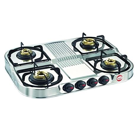 08d5259f61c Image Unavailable. Image not available for. Colour  Prestige Stainless  Steel 4 Burner Gas ...