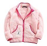 #7: ZETA DIKES Girls Puffy Fleece Coat Long Sleeve Zipper Up Pockets Winter Jacket Outwear 2-8T