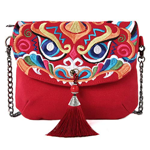 (Embroidered Canvas Crossbody Bag, Multi-Pockets Flap Should Bag Cell Phone Purse Wallet Bags (B01: Size Bigger-Horizontal-Tassel &)