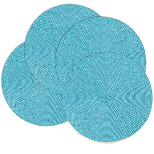Doupoo Dark Teal Round Place Mats for Kitchen Table,Vinyl Woven Placemats Heat Resistant Table mats (4, Turquoise Set of 4)