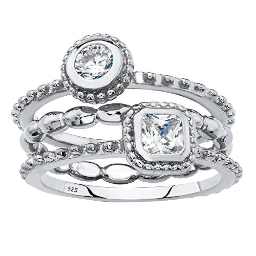 - Sterling Silver 3 Piece Stack Ring Set, Round and Square Cubic Zirconia