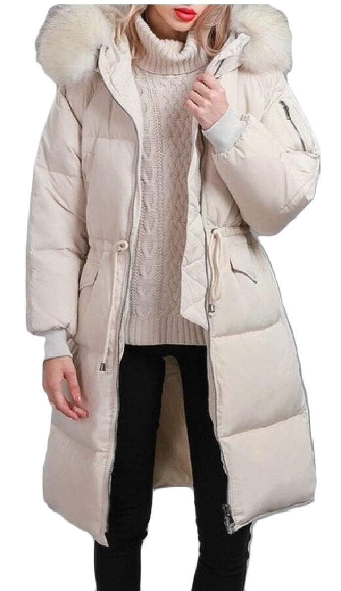 Beige LEISHOP Women Warm Winter Faux Fur Hooded Outwear Parka Downs Puffer Coats