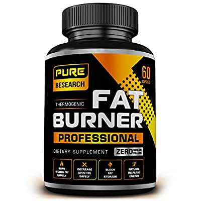 Pure Research Thermogenic Fat Burner Weight Loss Pills for Women and Men   Lose Weight Fast with Appetite Suppressant, Metabolism Support, Endurance & Energy Booster 60 Count