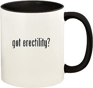 got erectility? - 11oz Ceramic Colored Handle and Inside Coffee Mug Cup, Black