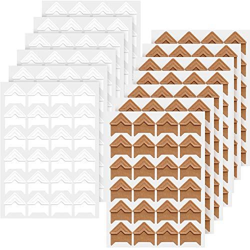 Hotop 312 Pieces Photo Corners Self Adhesive for DIY Scrapbook, Picture Album, Personal Journal, Dairy More (Kraft and White)